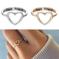ingrosso elegant gold bands-Argento Oro Unico Best Friend Cuore Hollow Ring Elegante Love Friendship Anelli Women Party Jewelry Accessori Regali Wedding Bands