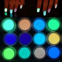 ingrosso glitter di arte del chiodo-Luminous Fluorescent Nail Powder Super Bright Glow at Night Nails Glitter Unghie fai-da-te Arte Salone di bellezza forniture