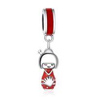 accesorios para hacer muñecas al por mayor-Muñecos japoneses encantos originales 925 plata esterlina cuelgan los granos del encanto del viaje para la joyería que hace DIY marca logotipo pulseras accesorios HB512