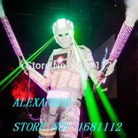 traje de traje de robô venda por atacado-LED robô traje / LED roupas / ternos leves Robot ternos david personalizado branco, dourado com transporte rápido