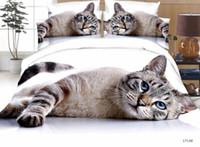 duvet katze großhandel-Ms.O Custom Made 3D Tier Königin Größe Bettbezug Set Hund Tiger Wolf Pfau Katze Leopard Bettwäsche Set Bettlaken Bettwäsche