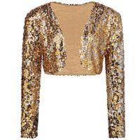 sexy langarm kostüm großhandel-Sparkly Sexy Frauen Pailletten Cardigan Jacke Mantel Langarm Kurz Bolero Shrug Clubwear Vintage Party Kostüme