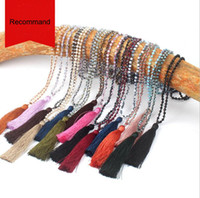 Wholesale JLN Glass Crystal Mala Necklace Handmade Knot Faceted Roundelle Crystal Long Tassel Buddhism Meditation Necklace For Women Gift