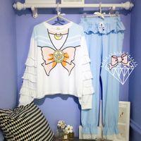 ingrosso giappone anime ragazza cosplay-Giappone cartton anime cosplay pigiama della ragazza della stampa di Sailor Moon set top e pantaloni 2 pezzi vestiti per la casa delle donne