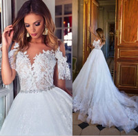 Wholesale Bridal Short Reception Dress - Milla Nova 2018 Dubai Lace Wedding Dresses Cap Sleeves Ivory Lace Plus Size Bridal Gowns Novia Covered Button Wedding Reception Gowns