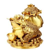 trípodes de china al por mayor-Adornos de cobre loto trípode de oro sapo Muebles para el hogar decoración de la sala regalos