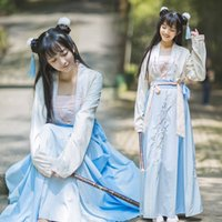 Wholesale folk skirt - Chinese Ancient dress women's embroidery Hanfu costume Top + skirt classical stage folk dance Ancient Chinese girls' clothing