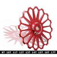 rolamento mtb venda por atacado-8 T 10 T 11 T 12 T 13 T 14 T 15 T 16 T 17 T Liga De Rolamento De Cerâmica MTB Bicicleta Desviador Traseiro Polia Roda Jockey Road Bike Guide Roller