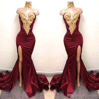Wholesale neck design for dress piece - New Design 2K18 Sexy Burgundy Prom Dresses with Gold Lace Appliqued Mermaid Front Split for 2018 Long Party Evening Wear Gowns