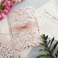 Wholesale sheer ribbon wholesale - MELISSA ROSE GOLD Glitter - Blush Laser Cut Wedding Invitation with Rose Gold Glitter and Sheer Ribbon - Elegant Laser Cut Invite