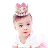 tipos tiaras coronas al por mayor-Regalos para bebés Diadema Princesa Tiara Corona Rose Tipo de flor Corona Diadema Fiesta de cumpleaños de la corona de oro para niños Festival de tocados