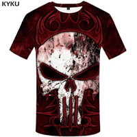 черепа футболки женские оптовых-KYKU  Skull T shirt Women Punk Tshirt  3d T-shirt Clothes Tops Shirts Womens 2018 Casual High Quality Female