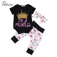 hübsche mädchen krone großhandel-2018 Nagelneues Neugeborenes Baby Hübsche Kleidung Sets 3 STÜCKE Kurzarm Crown Schwarz Strampler Tops + Pants + Stirnband Outfits