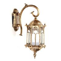 lámparas de pared antiguas al por mayor-E27 Antique LED Porch Lámpara de luz AC220VBronze Exterior Exterior LED Lámpara de pared Linterna Lámpara de jardín
