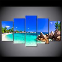 foto de la isla al por mayor-HD Impreso 5 Piezas de Arte de la Lona Paisaje marino Pintura Azul Island Wall Pictures Decoración Enmarcada Pintura Modular Envío Gratis CU-2401C