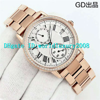 Wholesale mens roman numerals watch - Luxury Brand BEST Quality Rose Gold Diamond Roman numerals Black Dial ETA 2824 Automatic Mens Watch Sapphire Man Wristwatch