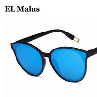 86a6d1b140 [EL Malus] Nueva Moda Sexy Cat Eye Big Frame Diseñador de la marca Gafas de sol  Mujeres Lente reflectante Azul Rosa Espejo Gafas de sol Mujer SG042