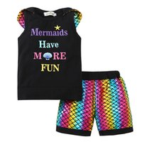 Wholesale shirts fish prints - Ins kids boy girl 2 pcs sets Shell and letter print t shirt +fish scale short kids 2 piece sets kids summer casual outfit sets