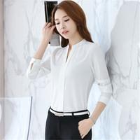bluse langarmkorea großhandel-2018 Korea Fashion Bluse Frauen V-Neck Shirt Sommer Arbeitskleidung Büro Damen Top Rosa Weiß Langarm weiblich plus Größe Bluse