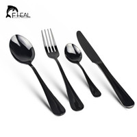 FHEAL 4pcs set Stainless Steel Colorful Cutlery Set Rainbow Gold Plated Dinnerware Set Fork Knife for Wedding and Hotel