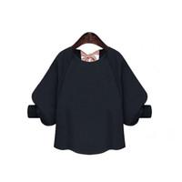 üç çeyrek kollu dantel tops toptan satış-Kadın Bluzlar 2017 Yeni Bahar Zarif Bluz Kadınlar Lace Up Geri Yay Üç Çeyrek Kollu Fener Kollu Üstleri ve Bluzlar