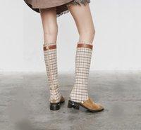 kniehohe plaidstiefel großhandel-Kniehohe Stiefel der Art- und Weisefrauen Med Ferse-Plüsch-Futter-warmer Winter-Schuhe überprüfen Plaid plus Größe 35-48 Fertigen Sie E84 besonders an