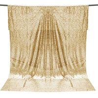 tela de fondo para la fotografía al por mayor-Sobrevalor 4FT * 6FT Champagne Gold Sequin Fabric Photo Telón de fondo de la boda Fondo de la decoración de tela de tela DIY Material del arte