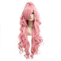 volle pferdeschwanzperücken großhandel-Lange Perücke Curly Pink Haar Pferdeschwanz Cosplay Dame Kostüm voll synthetische mit Pony