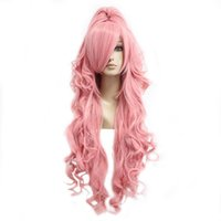 Wholesale long wave costumes hair for sale - Long Wig Curly Pink Hair Ponytail Cosplay Lady Costume Full Synthetic With Bangs
