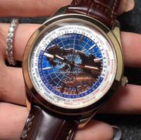 harita saatleri toptan satış-Lüks adam saatler otomatik erkekler İzle kol saati Geophysic Evrensel Zaman Q8108420 Paslanmaz Çelik Kasa Dünya Haritası Best Edition Miyota 9015