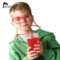 copos de palha engraçados venda por atacado-FHEAL Engraçado Macio Óculos de Palha Flexível Único Beber Tubo Crianças Colorido De Plástico Beber Palhas DIY Bar Acessórios