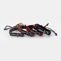 ingrosso i braccialetti di cuoio mescolano 12pcs-Braccialetto di fascino di Ankh dell'Egnello del cuoio delle donne degli uomini mescolati 12pcs