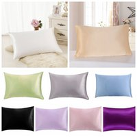 Wholesale silk pillows cases resale online - Luxury Solid mulberry Silk Pillow Cases Double Face Envelope Silk Pillowcase Charmeuse Silk Satin Pillow Cover Colors AAA847