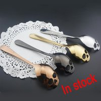 Wholesale Spoons Desserts Stainless - 2018 New Sugar Skull Tea Spoon Suck Stainless Coffee Spoons Dessert Spoon Ice Cream Tableware Colher Kitchen Accessories Free DHL XL-521