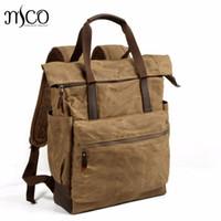 1d4c632b6b Men s Large Capacity Waterproof Travel Backpacks Canvas Leather Daypacks  Vintage Women Rucksack Teeanger School Bag