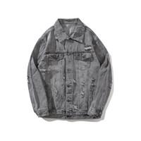graue jeansjacke männer großhandel-2018 hot denim kleidung für alte vintage motorrad herren jacken hochwertiger hip-hop trend mit denim pure color grau loch M-XXL