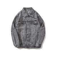 jaqueta vintage xxl masculina venda por atacado-2018 hot denim roupas para jaquetas dos homens da motocicleta do vintage velho de alta qualidade hip-hop tendência com denim cor pura cinza buraco M-XXL