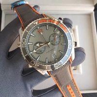 importa dos al por mayor-De calidad superior para hombre clásico reloj de dos colores 45.5mm esfera de cerámica caso tela correa de caucho relojes cronógrafo movimiento de cuarzo importado original