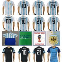 custom football team shirts NZ - 2018 World Cup Argentina Jersey National Team Soccer 10 MESSI Football Shirt Men 11 DI MARIA 14 MASCHERANO 19 KUN AGUERO 9 HIGUAIN Custom