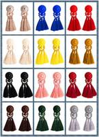 avize avize küpeleri toptan satış-9.5 cm Vintage 12 Renkler Pamuk Çok katmanlı Dokuma Püskül Küpe Kadınlar Için Reçine Avize Bohemia Punk Etnik Dangles