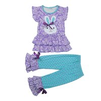 Wholesale boutique easter clothing for sale - Easter Day Outfit New Arrival Spring Girls Clothing Set Bunny Pattern Top Polka Dot Ruffle Pant Kids Boutique Clothes E009