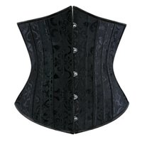 Sexy Black Brocade Steel Boned Lace-Up Underbust Corset Body slimming Shaper Waist Trainer Bustiers Free Shipping