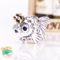 "Wholesale Russian Silver Jewelry - Authentic 925 Sterling Silver Gold Plated Bead ""Russian"" Fairytale Fish Charms Fits European Pandora Style Jewelry Bracelets 792014CCZ"