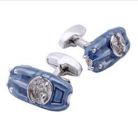 car cuff 도매-Mens French Shirt Cuff Jewelry Blue Car Cuff links High Quality Enamel Cufflinks Gift To Guys Kids