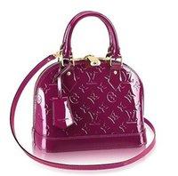 sacs à main pourpre en cuir verni achat en gros de-M50565 ALMA BB Cuir verni violet violet chaîne véritable sac sacs à main sacs à bandoulière sacs à bandoulière