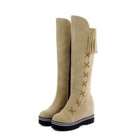zapatos de limpieza al por mayor-Mujeres Ocio Ronda ToeTassel Zapatos Plataforma Zip Scrub Tubo largo Martin Botas Casual Señoras Calzado Botas Mujer Europea Nuevo