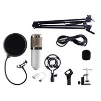Wholesale kit karaoke for sale - Group buy BM Dynamic Condenser Wired Recording Microphone Sound Studio with Shock Mount with Holder set for Recording Kit KTV Karaoke