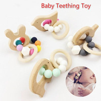 Wholesale stroller accessories toys - Baby Teething Bracelet Toy Small Animal Shaped Jewelry Teether For Baby Organic Beech Wood Silicone Beads Baby Rattle Stroller Accessories P