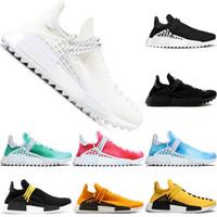 paixão das mulheres venda por atacado-Adidas NMD Human Race Boost Trail Running Shoes Pharrell Williams Homens Mulheres Paixão Amarelo Preto Branco Moda Run Sport Sneaker Tamanho 5-12 Frete Grátis