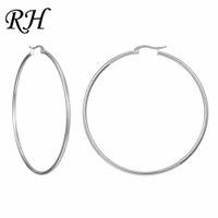 большие ювелирные изделия из нержавеющей стали оптовых-Big Huge Smooth Circle Hoop Earrings For Women Stainless Steel Hyperbole Earrings Large Round Ring Earring Jewelry